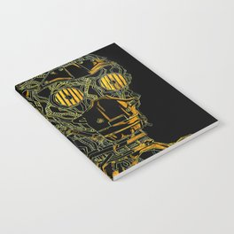 Geometric Black and Gold Robot Notebook