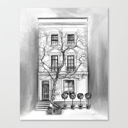 Black and White Tree and Townhome Canvas Print