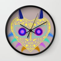 majora Wall Clocks featuring Dia de los Majora - Legend of Zelda by Katie Halliday