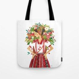 Folk Flower Girl Tote Bag
