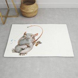 A hippopotamus fishing Rug
