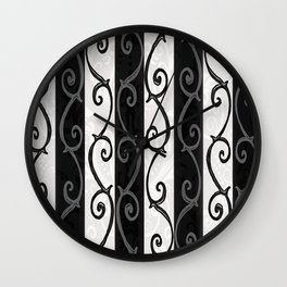 Burtonesque Stripes and Swirls.. Wall Clock