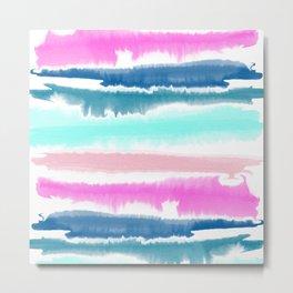 Modern hand painted watercolor pink blue stripes pattern Metal Print