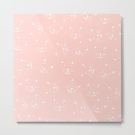 Cute girly hand drawn abstract cat face on pastel pink Metal Print