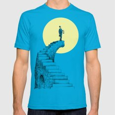 Moon Steps LARGE Teal Mens Fitted Tee