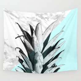 Pineapple Top Marble Pastel Blue Wall Tapestry