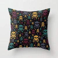 skulls Throw Pillows featuring Skulls by Alice Gosling