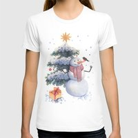 snowman T-shirts featuring snowman by green penguin
