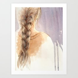 Girl with Braid in Watercolor Art Print