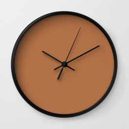 Plain Skin Tone Deep Golden Bronze 10 Solid Color Block Wall Clock
