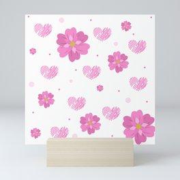 Rose Pink Girly Floral Print Mini Art Print