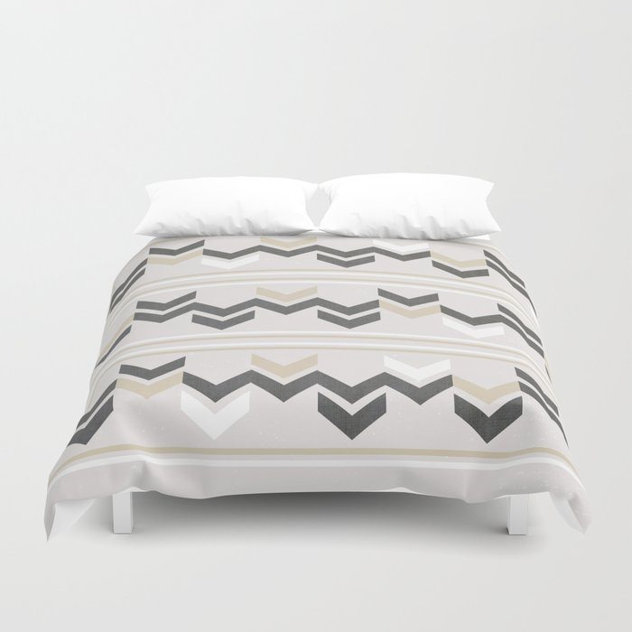 Geometric Arrowhead Charcoal Gold And White Grunge Pattern Duvet Cover