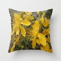 marc johns Throw Pillows featuring Beautiful St Johns Wort by Wendy Townrow