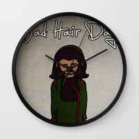 planet of the apes Wall Clocks featuring bad hair day no:1 / Planet of the Apes by niles yosira