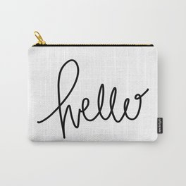 Simply Hello - hand lettered art - black and white Carry-All Pouch