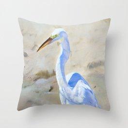 Boca White Egret Throw Pillow