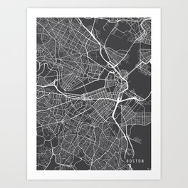 Boston Map, Massachusetts USA - Charcoal Portrait Art Print