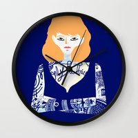 tatoo Wall Clocks featuring Rehead with tatoo 01 by JulienB