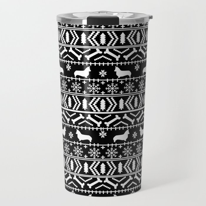 Corgi fair isle silhouette christmas sweater dog gifts corgis welsh corgi dog Travel Mug