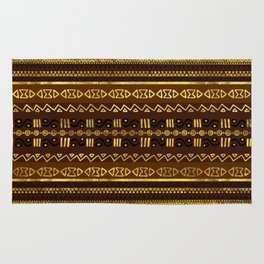 Ethnic African Golden Pattern on brown Rug
