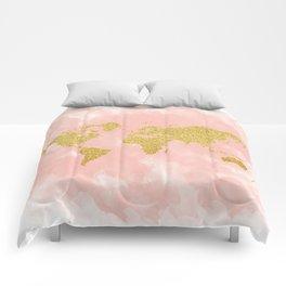 Gold Glitter Map, Nursery Art, Pink Gold, Pastels Comforters