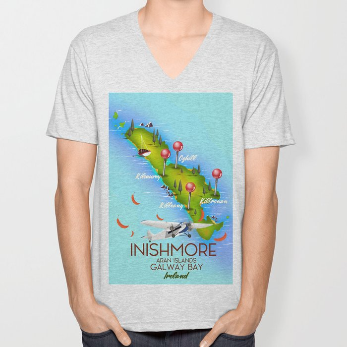 Inishmore Aran Islands Galway Bay Ireland travel poster Unisex V-Neck