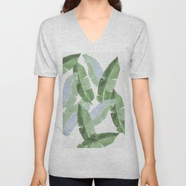 Tropical Leaves 2 Blue And Green Unisex V-Neck