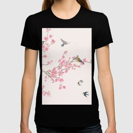 Birds and cherry blossoms T-shirt