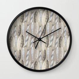 Beautiful graphic bird feathers black white Wall Clock