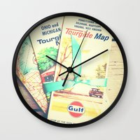 explore Wall Clocks featuring Explore by Olivia Joy StClaire