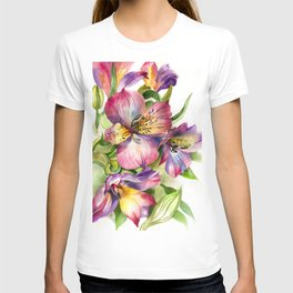 Beautiful watercolor flowers,background of flower petals in rich blue and green tones. H watercolor T-shirt