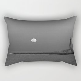 Black and white Moon over Thacher Island Rectangular Pillow