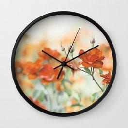 Orange Rose Flower Photography, Red Orange Roses, Burnt Orange Flowers Wall Clock