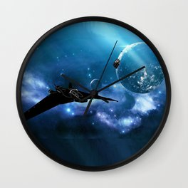 Ships in Space Wall Clock