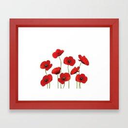 Poppies Field white background Framed Art Print