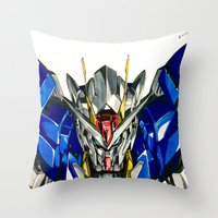 gundam Throw Pillows featuring Gundam 00 by Glen Howy