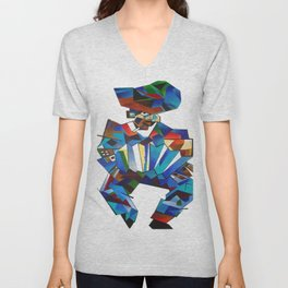 Accordion Player In Cubist Style Unisex V-Neck