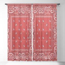 Paisley - Bandana - Red - Southwestern - Boho Sheer Curtain