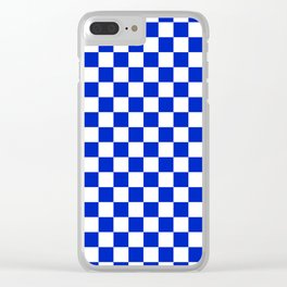 Cobalt Blue and White Checkerboard Pattern Clear iPhone Case