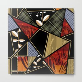 A complex patchwork in black and orange colors . Metal Print