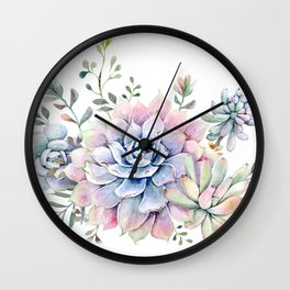 succulent watercolor 1 Wall Clock