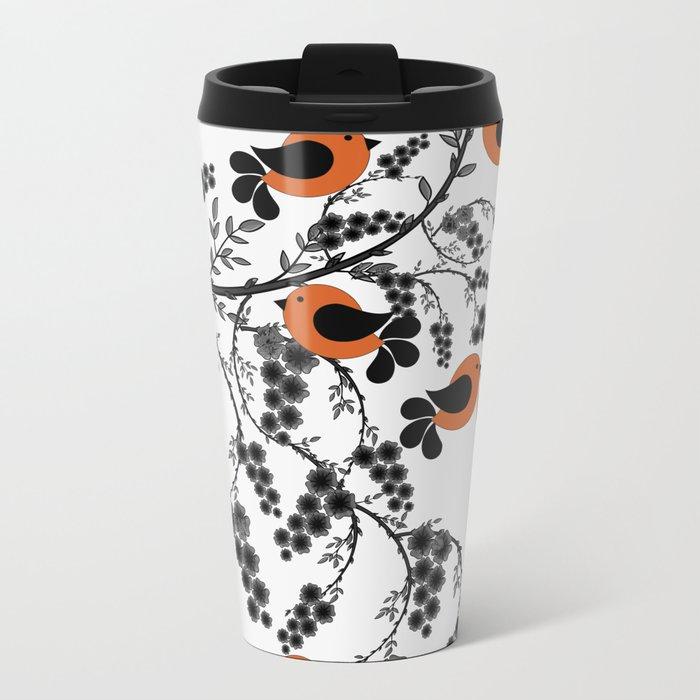 orange birds Metal Travel Mug