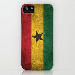 Old and Worn Distressed Vintage Flag of Ghana iPhone Case