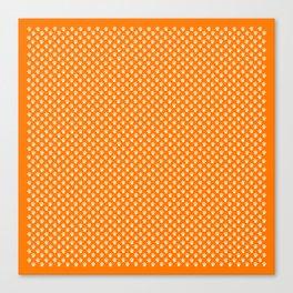 Tiny Paw Prints Pattern - Bright Orange & White Canvas Print
