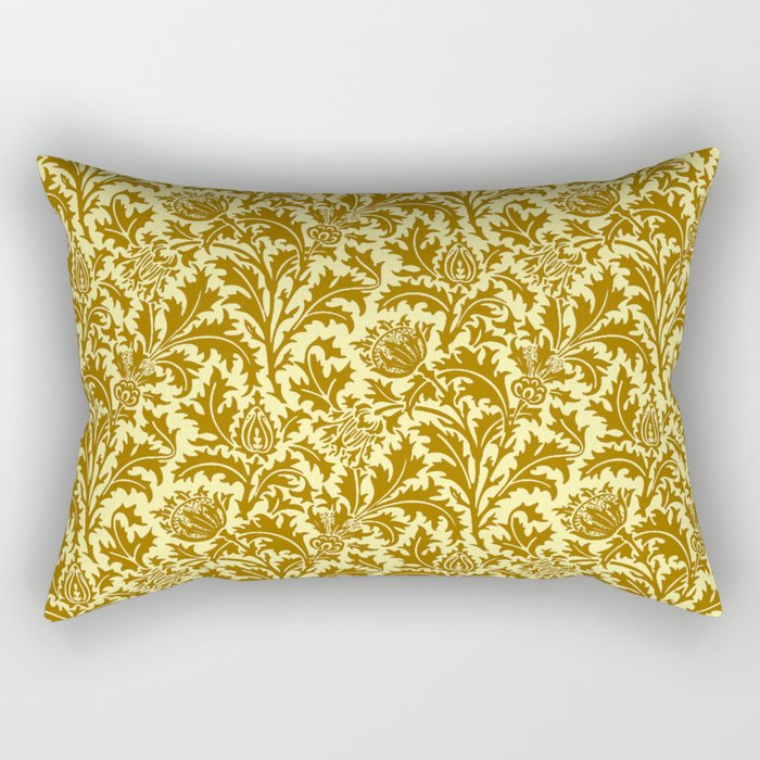William Morris Thistle Damask in Mustard Gold Rectangular Pillow