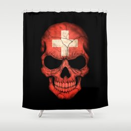 Dark Skull with Flag of Switzerland Shower Curtain