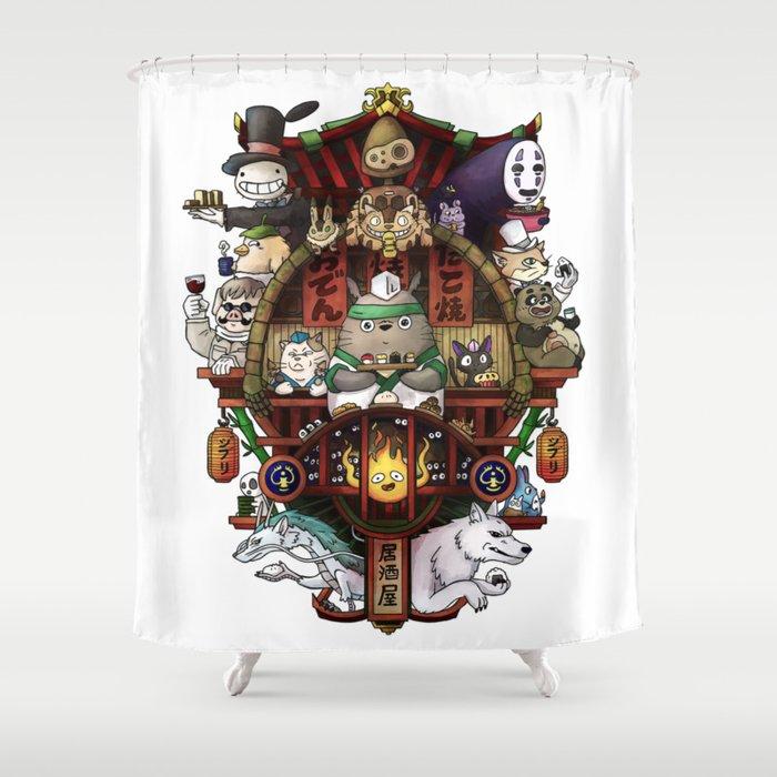 Ghibli Izakaya Print Coloured Shower Curtain By Sushicat