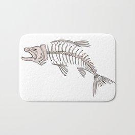 King Salmon Skeleton Drawing Bath Mat