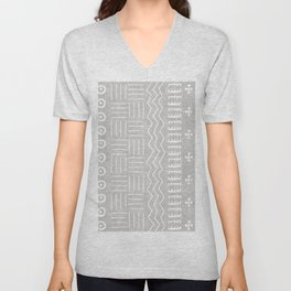 Funky African Mud Cloth in Grey Unisex V-Neck
