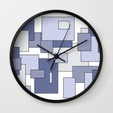 Squares - blue. Wall Clock